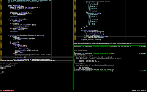 Sample tmux layout